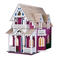 Greenleaf Vineyard Cottage Dollhouse Kit - 1 Inch Scale - Capturing the fanciful style of a Massachusetts summer cottage the Greenleaf Vineyard Cottage Dollhouse Kit - 1 Inch Scale is a lovely miniature house with a unique open-side design. Once assembled this Carpenter-Gothic house will make a quaint dollhouse for older children or a charming model home for your collection. The design of this cottage dollhouse is based on the style of a community of small cottages on the Massachusetts island of Martha's Vineyard built shortly after the Civil War. Resembling the tents that preceded them these cottages were traditionally closely spaced and measured just 11 feet by 19 feet. Their fronts were decorated in gingerbread and bargeboards that mimicked tent trim. The Greenleaf Vineyard Cottage captures the magic of these wonderful structures and features two first floor rooms two dormers a small nook above the loft a staircase Gothic bay and upper and lower front porches. Once assembled the dollhouse will have a true miniature scale of 1 inch = 1 foot. The open-side design provides easy access to the interior at all times. Fish scale-style wood shingles and gingerbread trim enrich the beautiful design. This Greenleaf dollhouse kit contains all the pre-cut plywood and plastic window parts needed. The parts feature an easy tab-and-slot assembly requiring no nails screws or tools. Any wood glue or a hot melt glue gun can be used to assemble the kits in just hours. This dollhouse kit does not come with paint furnishings or other decorations. Age recommendations: Assembly - 12 and up. Assembly with parent - 7 and up. Finished houses are not recommended for young children. About GreenleafEstablished in 1947 Greenleaf Steel Rule Die Corp is a leading manufacturer of all-wood dollhouse kits furnishings and accessories. Located in Schenevus N.Y. Greenleaf is acknowledged by many in the miniatures industry for its outstanding design and superior quality. Greenleaf wooden dollhouse kits are an ideal project for collectors or families who want to create lasting keepsakes.