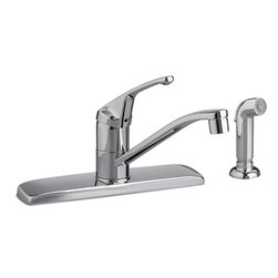 American Standard - American Standard 4175.201F15.002 Colony Single Control Kitchen Faucet, Chrome - This American Standard 4175.201F15.002 Colony Single Control Kitchen Faucet is part of the Colony collection, and comes in a beautiful Chrome finish. This single control kitchen faucet comes with a metal lever handle, and a color-matched side-spray that can be mounted on either side of the faucet. This model comes with an aerator that allows the maximum flow rate to be 1.5 GPM.