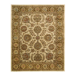 """Nourison - Nourison Jaipur JA31 5'6"""" x 8'6"""" Ivory Brown Area Rug 08931 - Enjoy the lush life with this elegant design reflecting age-old floral traditions. The warm ivory center is flattered by inviting tones of burnished brown ranging from golden sand to mink. Touches of sky blue and Persian red add lively beauty and carry the eye from blossom to blossom."""