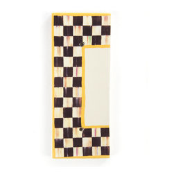 Courtly Check House Number - End Cap | MacKenzie-Childs - If there's no second chance at a first impression, make yours count! Ceramic numbered tiles are bordered, top and bottom, with Courtly Checks and sunny yellow edges; flank each side with an end cap to finish the frame.