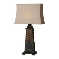 Uttermost - Uttermost 26471-1 Lavaca Woven Rattan Table Lamp - Uttermost 26471-1 Lavaca Woven Rattan Table Lamp