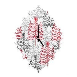 DENY Designs - DENY Designs Rachael Taylor Doodle Trees Baroque Clock - It's about time to check out DENY's Baroque Clock and turn up the fancy on that plain Jane wall of yours with this sleek design.
