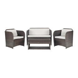 Safavieh - Caprina 4 Pc Outdoor Set - Glamorize your backyard or patio with the curvaceous art deco-inspired silhouette of the Caprina 4-Piece Outdoor Set. Styled to complement transitional decor inside the home, this set includes loveseat, two arm chairs and a coffee table, all crafted of sturdy dark brown rattan with waterproof Terylene upholstery fabric in beige.