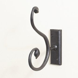 "Iron Vine Single Hook - Beautiful hardware can do wonders for a room, bringing character to the most unexpected places. Our exclusive collection features hand forging and casting techniques that have evolved over centuries, original molds carved by master woodworkers, and finishes painted or hand rubbed one at a time. The scrolling shapes of our cast-iron-finished aluminum Iron & Vine pieces recall an antique garden gate. Knob: 2"" wide x 1"" deep x 2"" high Pull: 5"" wide x 1"" deep x 1.5"" high Hook:1.5"" wide x 6"" deep x 7.5"" high Sand-cast aluminum with a blackened finish. Mounting hardware included. Catalog / Internet only."