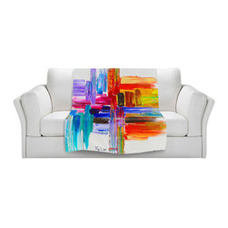 DiaNoche Designs - Throw Blanket Fleece - Color Strokes - Original Artwork printed to an ultra soft fleece Blanket for a unique look and feel of your living room couch or bedroom space.  DiaNoche Designs uses images from artists all over the world to create Illuminated art, Canvas Art, Sheets, Pillows, Duvets, Blankets and many other items that you can print to.  Every purchase supports an artist!