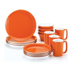 Rachael Ray - Rachael Ray Round and Square Orange Dinnerware - Set of 16 - 58082 - Shop for Kettles (Stovetop) from Hayneedle.com! About Rachael Ray Cookware and CutleryRachael Ray means fun functional colorful cookware and cutlery inspired and endorsed by the TV personality herself. Express yourself through your cookware with these truly unique pieces made with high-quality materials like cast iron and bright enamel exteriors. These hard-working pieces are perfect for all types of cooks from casual home users to commercial chefs and you'll love the way they look in your kitchen.