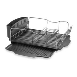 Polder - Polder Model KTH-615 4-Piece Advantage Dish Rack System - This full size dish rack is ideal for drying hand washed items on your countertop. It's as elegant as it is functional with a rust-resistant stainless steel rack, removable drying tray, drain tray and cutlery holder, and wire plate and cup holders.