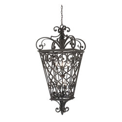Quoizel - Quoizel FQ1931MK01 Fort Quinn 8 Light Outdoor Pendants/Chandeliers in Marcado Bl - This 8 light Outdoor Hanging Lantern from the Fort Quinn collection by Quoizel will enhance your home with a perfect mix of form and function. The features include a Marcado Black finish applied by experts. This item qualifies for free shipping!