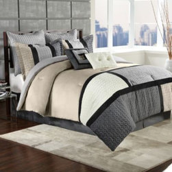 Ellison First Asia Llc - Clayton 8-Piece Comforter Set in Charcoal - Dress up your bed with the modern styled Clayton 8-Piece Comforter Set in Charcoal. The plush 8-piece bedding set uses a geometric pattern with a combination of neutral and cool tones to create a chic and contemporary look in your bedroom.