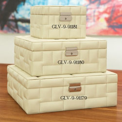 Global Views - Global Views 9.91180 Quilted Storage Beige Leather Transitional Box - Medium - Global Views 9.91180 Quilted Storage Beige Leather Transitional Box - Medium