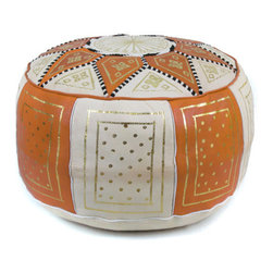 Ikram Design - Orange / Beige Fez Moroccan Leather Pouf - These combination-colored poufs are particularly beautiful in conservatively decorated rooms, yet they can enhance the beauty of just about any room. Allowing you to pair them up with gorgeous colors, these combination traditional styled poufs are functional and comfortable and of course, they are also beautiful and come pre-stuffed with filling fiber.