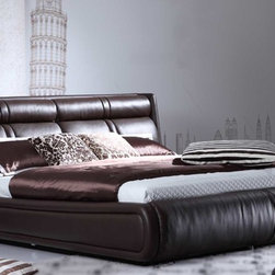 Zuri Furniture - Soho Leather Platform Bed - Brown, Queen - You'll feel a sense of true comfort and sophisticated style in our Soho Bedroom Collection every morning you wake up. With its ultra contemporary padded high headboard in aniline dyed, top grain Italian leather, The Soho is the dream your bedroom has been waiting for. Buy one today and add decorative nightstands, pillows and lamps from our accessory section to complete your very own unique vision.