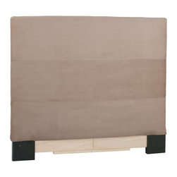 Howard Elliott - Microsuede  King Headboard Slipcover - Refresh the look of your slipcovered headboard simply by updating the cover! Change with the seasons, or on a whim. This piece features a sandstone faux suede cover.