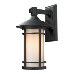 Z-Lite - Z-Lite 527B-BK Woodland 1 Light Outdoor Wall Light in Black - Today's contemporary homes as well as homes of the craftsmen style are particularly well suited with the classic styling of this large outdoor wall mount. This fixture has black finish with matte opal glass.