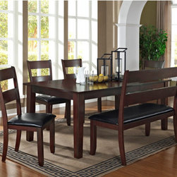 """Urban Styles - Skyline 6 Piece Dining Set - The Skyline collection is an urban design, a flat table top with black walnut inlay throughout. The ladder back chairs offer an trendy urban look, can fit nicely in any home with bench or with chairs. Each piece in this collection is inspected by the qualified QC Department before they ship it to the retailer's Showroom. Features: -Set includes 1 table, 1 bench and 4 side chairs. -Gorgeous hour glass inlay design on its table top. -Large table can sit up to 8 people comfortably. -Table top can extend from 60"""" in length to 78"""" by placing its 18"""" self storing leaf. -Bench is meant to sit up to 3 children or 2 adults comfortably. Dimensions: -Table: 30"""" H x 78"""" W x 42"""" D. -Chair: 39"""" H x 20"""" W x 21"""" D. -Bench: 39"""" H x 50"""" W x 21"""" D. -Overall Product Weight: 285 lbs."""