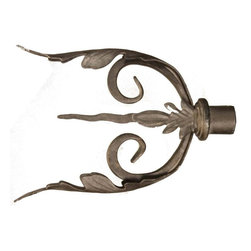 The Merchant Source - 1 1/4 in. Drapery Finial in Gold - Side Leaf Pair - Set of 2 (Bronze) - Finish: Bronze. Take the next step in fashionable, affordable window decor. This pair of drapery rod finials features a U-shaped profile highlighted with a twisted, tapered spear flanked with flowing leaves. The solid metal finials come in your pick of popular finish colors. Set of 2. Bronze finish. Made of Forged Metal. 11.5 in. L x 2.5 in. W x 8.5 in. H (5 lbs.)