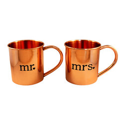 Custom Copper Mugs, LLC - Mr. and Mrs. Copper Mugs, Set of 2 - Our Moscow Mule Mugs are constructed of 100% pure copper. We apply a food-safe lacquer that resists tarnishing for lasting beauty and luster. The mug of choice when serving the infamous Moscow Mule--a cocktail made from a blend of vodka, ginger beer, and lime juice. The copper mug enhances the flavor and keeps the drink colder, longer.