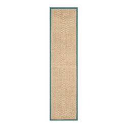 """Safavieh - Aimee Natural Fiber Rug, Natural / Light Blue 2'6"""" X 12' - Construction Method: Power Loomed. Country of Origin: China. Care Instructions: Vacuum Regularly To Prevent Dust And Crumbs From Settling Into The Roots Of The Fibers. Avoid Direct And Continuous Exposure To Sunlight. Use Rug Protectors Under The Legs Of Heavy Furniture To Avoid Flattening Piles. Do Not Pull Loose Ends; Clip Them With Scissors To Remove. Turn Carpet Occasionally To Equalize Wear. Remove Spills Immediately. Hand-woven with natural fibers, this casual area rug is innately soft and durable. This densely woven rug will add a warm accent and feel to any home. The natural latex backing adds durability and helps hold the rug in place."""