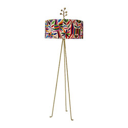 Stray Dog Designs - Stray Dog Designs Otomi Floor Lamp - Multi - Graceful, colorful flora and fauna prance around this hand embroidered Otomi shade. The dazzling gold three legged base and finial make this lamp really stand out. Hand crafted by artisans in Mexico.