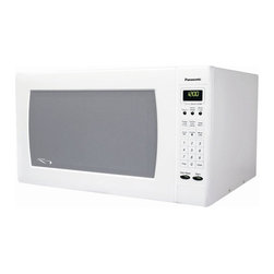"Panasonic - Full Size Luxury Microwave Oven in White - Features: -Color: White. -Inverter turbo defrost technology. -Cook-a-round automatic turntable. -Popcorn key for easy popcorn popping. -One-touch sensor cooking with 18 categories. -One-touch sensor reheat. -5 cooking stages. -Quick minute / add minute feature. Specifications: -1250 Watts. -2.2 cubic foot with 16.5"" diameter turntable. -Dimensions: 19.44 H x 23.88 W x 14 D. This spacious luxury microwave has 1250 Watts of power with inverter turbo defrost and 2.2 cubic feet of space. Panasonic Inverter Turbo Defrost technology is an advanced microwave sequencing system using the Inverter low-power delivery feature. This design makes it possible to distribute microwave energy with the most appropriate combination of regularity and irregularity. Keep warm and simmer features help you keep your food warm until you are ready to eat. A pulsing delivery of very low microwave power keeps the temperature of your food at a constant level without overcooking. The improved keep-warm menu now includes five items, so food like stew, gravy and desserts can stay warm in the oven until you are ready to serve. One-Touch Sensor Cooking adjusts power levels and calculates cooking times automatically, making reheating and cooking a variety of foods easier than ever."