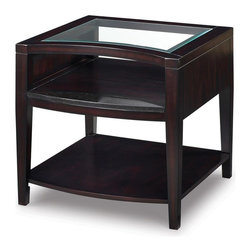 Magnussen Furniture - Areva Rectangular End Table - Transitional styling. Top has 0.19 in. tempered glass insert with 1 in. bevel. Two shelves. Granite stone on the top shelf. Brushed nickel hardware. Wipe with a damp cloth and use a mild soap. Warranty: One year limited. Made from okume veneers with hardwood solids. Merlot finish. 26 in. W x 28 in. D x 26 in. H (70.55 lbs.)When you start with stunning materials then introduce seductive shapes, you need not do much else. With Area, the only element left was the crowning jewel of slab-set silver. Be careful when using commercial cleaners and follow all manufacturer instructions, test them on a small inconspicuous area first. Do not use chemical cleaners or glass cleaners on finish as they may break down the finish.