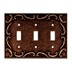 Liberty Hardware - Liberty Hardware 64279 French Lace WP Collection 6.78 Inch Switch Plate - The French Lace design communicates refined taste and cultivated style. It adds flavor and the appearance of elegant expression. The copper finish exudes warmth and the ambiance of sanctuary. Quality zinc die cast base material. Available in different configurations. Width - 6.78 Inch, Height - 4.9 Inch, Projection - 0.3 Inch, Finish - Sponged Copper, Weight - 0.74 Lbs.