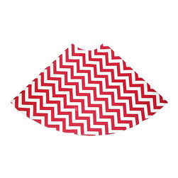 Candy Cane Ziggy Tree Skirt - A bright and fun accessory to adorn your holiday tree with, the Candy Cane Ziggy Tree Skirt is simply enchanting. Helpful in keeping stray pine needles from the floor and great for a base to stack presents on, this pretty red and white classic zig zag style pattern is sure to garner attention from your holiday guests.