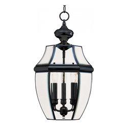 Joshua Marshal - Three Light Black Clear Glass Hanging Lantern - Three Light Black Clear Glass Hanging Lantern
