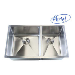 """Ariel - 32 Inch Stainless Steel Undermount 60/40 Double Bowl Kitchen Sink - 16 Gauge - This full sized undermount double bowl kitchen sink is the perfect addition to your dream kitchen. Handmade from heavy duty 16 gauge stainless steel. Dimensions 32"""" x 19"""" x 10""""."""