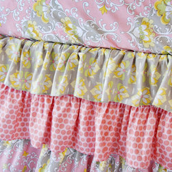 Caden Lane - Amy's Garden Pink Ruffle Crib Bedding - Subtle, sophisticated and sweet are what comes to mind when you see Amy's Garden baby bedding from Caden Lane! A beautiful mix of pinks, peach, gray, and soft yellow are blended together in an elegant, cascading ruffle skirt.