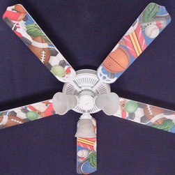 Ceiling Fan Designers - Ceiling Fan Designers General Sports Indoor Ceiling Fan - 42FAN-KIDS-SSS - Shop for Ceiling Fans and Components from Hayneedle.com! Just right in the game room or your teen's bedroom the Ceiling Fan Designers General Sports Indoor Ceiling Fan is fun plain and simple. A colorful and well-made ceiling fan this one highlights all sports and will cool down and light up the room in style. It comes in your choice of size: 42-inch with 4 blades or 52-inch with 5. The blades are reversible so you get the sports design on one side and white on the other. It has a powerful yet quiet 120-volt 3-speed motor with easy switch for year-round comfort. The 42-inch fan includes a schoolhouse-style white glass shade and requires one 60-watt candelabra bulb (not included). The 52-inch fan has three alabaster glass shades and requires three 60-watt candelabra bulbs (included). Your ceiling fan includes a 15- to 30-year manufacturer's warranty (based on size). Game on!