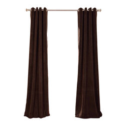 Exclusive Fabrics & Furnishings, LLC - Signature Java Grommet Blackout Velvet Curtain - 100% Poly Velvet. Grommet. Plush Blackout Lining . Imported. Dry Clean Only.