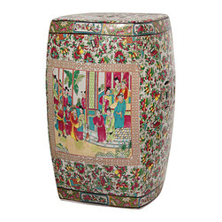 Porcelain Rose Medallion Square Garden Stool - Several things make this stool special: the square shape, the beautiful mix of colors and the scene featured on its side.