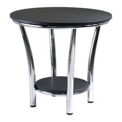 Winsome - Winsome Maya Round End Table Top with Legs in Black/Metal Finish - Winsome - End Tables - 93219 - Maya Table Collection offers the ultimate in contemporary decor.