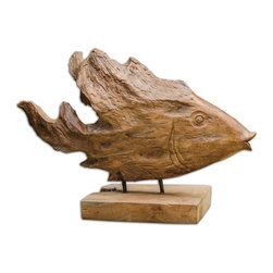 Uttermost - Uttermost 17084 Teak Wood Fish Sculpture - Uttermost 17084 Teak Wood Fish Sculpture