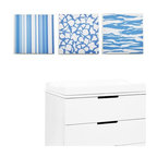 Modern Littles - Sky Baby Boy Strips and Stripes Canvas Print Set/3 - Playful patterns in little boy blue make the perfect accent for your baby's room. The bonus? This canvas trio is modern and cool enough to grow with your guy through toddlerhood and beyond.