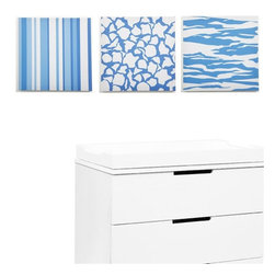 Modern Littles - Sky Baby Boy Strips and Stripes Canvas Print Set of 3 - Playful patterns in little boy blue make the perfect accent for your baby's room. The bonus? This canvas trio is modern and cool enough to grow with your guy through toddlerhood and beyond.