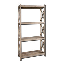 Uttermost - Uttermost Stratford Reclaimed Wood Etagere 24248 - Naturally weathered, reclaimed fir wood with a light gray glaze.