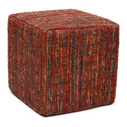 Anji Mountain - Saree Pouf - Ruby - This pouf brings some stylish versatility to your living space. Perfectly sized for duty as a stool or an ottoman and ready to switch gears at a moments notice. It sits nice and firm for excellent support yet offers a touch of comfort with a cushioned top. The cover is made from carefully selected recycled material from vintage Indian sarees and features a dazzling ruby red pile with multi-color highlights and a subtle orb pattern throughout.
