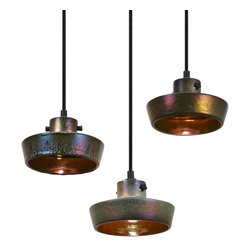 Industrial Copper Shade Pendant Lighting Flat - The iridescent sheen is created by firing the stoneware shades at 1200°C using a top-secret glaze containing minerals and precious metals.The end result is a striking color change effect reminiscent of peacock feathers or oil slicks on water.The shade reflects and refracts an extraordinary spectrum of colors both internally and when lit from outside.