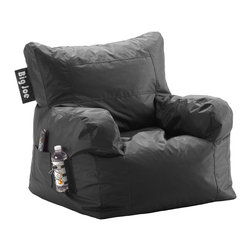"""Comfort Research - Big Joe Stretch Limo Black Dorm Chair - It's only called the Dorm Chair because our marketing team said """"The Best, Most Comfortable Chair For Dorm Rooms and Bedrooms and Family Rooms and Living Rooms and Cozy Basement Rooms and All Rooms for All Users"""" was a bit too long. Complete with a drink holder, side pocket and easy-to-haul handle, the Dorm Chair has everything you need for wherever you decide to put it."""