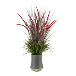 D&W Silks - D&W Silks Onion And Wild Grasses In Ceramic Planter - Multi-Color Onion Grass with Burgundy Dogstail and Wild Grass