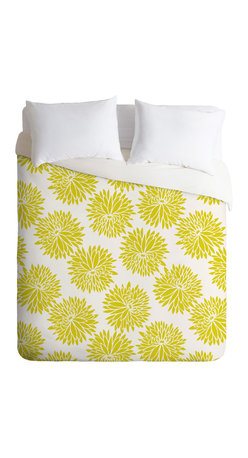 DENY Designs - Khristian A Howell High Society Queen Duvet Cover - A splash of chartreuse can give your room an exciting, modern kick. This duvet cover makes great use of the trendy color with a simple, oversize floral pattern softened by a white background. For a fresh, contemporary look, try it in a room with neutral white and dark woods, or accent it with a red-orange or plum throw pillow.