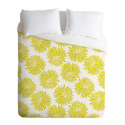 DENY Designs - Khristian A. Howell High Society Duvet Cover - A splash of chartreuse can give your room an exciting, modern kick. This duvet cover makes great use of the trendy color with a simple, oversize floral pattern softened by a white background. For a fresh, contemporary look, try it in a room with neutral white and dark woods, or accent it with a red-orange or plum throw pillow.
