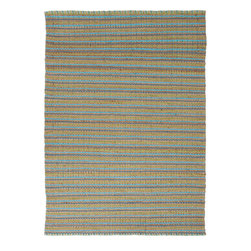 Jaipur Rugs - Natural Solid Pattern Jute/Cotton Blue Rug - AD04, 2.6x4 - Joyfully go barefoot with this nubby, ecofriendly rug. The delightful texture makes it as pleasing to look at as it is to walk over. It's handwoven with jute and recycled cotton so you can feel good about making your floors look great.