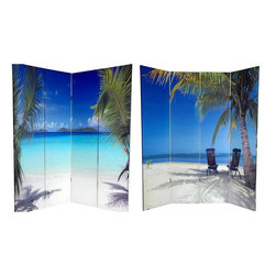 Oriental Furniture - 6 ft. Tall Double Sided Ocean Room Divider - Capture a piece of paradise with these two beautiful photographic prints of idyllic tropical beaches. On the front is a photo of two vacationers relaxing in the shade of a palm tree, admiring the deep blues of the sky and the sea. On the back is a picture of a beach on the Virgin Islands that will inspire you grab your snorkel and check ticket prices to the tropics. These peaceful, beautiful images will add a serene decorative accent to your living room, bedroom, dining or kitchen. This four panel screen has different images on each side, as shown.