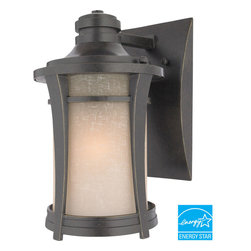 Quoizel - Quoizel Imperial Bronze Exterior - SKU: HY8407IBFL - This clean design has minimal ornamentation and pure lines, giving it a peaceful, Zen-like appeal. The soft glow and texture of the linen glass add a special warmth to the exterior of your home. This fixture uses energy-efficient fluorescent bulbs, which are included, and is Title 24 compliant.