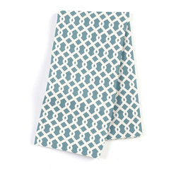 "Aqua Small Geometric Custom Napkin Set - Our Custom Napkins are sure to round out the perfect table setting""""_whether you're looking to liven up the kitchen or wow your next dinner party. We love it in this bright aqua & white mazelike lattice.  a little pizazz will go a long way."