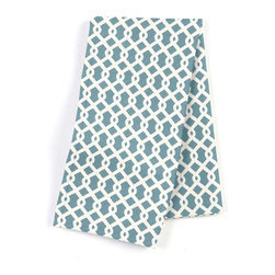 Aqua Small Geometric Custom Napkins, Set of 4 - Our Custom Napkins are sure to round out the perfect table setting'whether you're looking to liven up the kitchen or wow your next dinner party. We love it in this bright aqua & white mazelike lattice.  a little pizazz will go a long way.