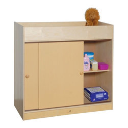 Steffy Wood Products - Changing Table w Plywood Doors in Light Brown Finish - Includes safety strap. 2 Large storage shelves behind sliding doors. Changing area is 6 in. deep. 1 in. Thick vinyl table pad. Solid wood construction. 40 in. W x 20 in. D x 36 in. H